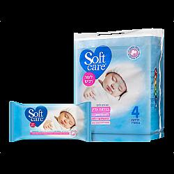 סופטקר מגבונים לחים בניחוח עדין לעור רגיש מארז רביעייה - מבית Softcare