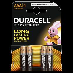דורסל PLUS POWER סוללות AAA אריזת 4 יחידות - מבית Duracell