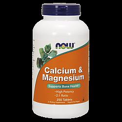 סידן + מגנזיום - 250 טבליות - מבית NOW FOODS