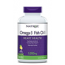 """אומגה 3 שמן דגים 1000 מ""""ג בטעם לימון טבעי 150 כמוסות - מבית NATROL"""