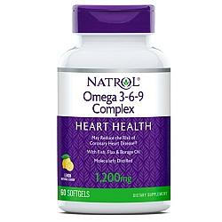 """אומגה 3-6-9 קומפלקס 1200 מ""""ג בטעם לימון טבעי 90 כמוסות - מבית NATROL"""