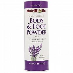דאודורנט יבש אבקת טלק גוף רגליים לבנדר עם תמצית זרעי אשכוליות נוטריביוטיק 113 גרם - מבית NutriBiotic