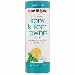 דאודורנט יבש אבקת טלק גוף רגליים שמן פרי הדר ומנטה עם תמצית זרעי אשכוליות נוטריביוטיק 113 גרם - מבית NutriBiotic