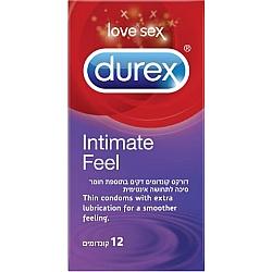 דורקס קונדומים דקים INTIMATE FEEL בתוספת חומר סיכה לתחושה אינטימית 12 יחידות - מבית DUREX