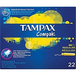 טמפקס קומפאק טמפונים עם מוליך רגולר 22 יחידות - מבית TAMPAX