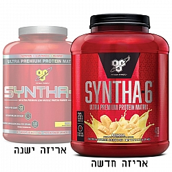 """סינטה 6 אבקת תשלובת חלבונים SYNTHA 6 בטעם בננה משקל 2.27 ק""""ג - מבית BSN"""