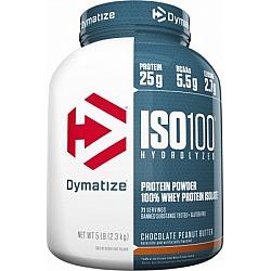 """אבקת חלבון איזו 100 דיימטייז ISO100 Hydrolyzed בטעם חמאת בוטנים שוקולד 2.3 ק""""ג - מבית Dymatize Nutrition"""