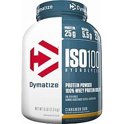 """אבקת חלבון איזו 100 דיימטייז ISO100 Hydrolyzed בטעם לחמניית קינמון 2.3 ק""""ג - מבית Dymatize Nutrition"""