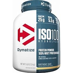 אבקת חלבון איזו 100 דיימטייז ISO100 Hydrolyzed בטעם עוגת יום הולדת - מבית Dymatize Nutrition