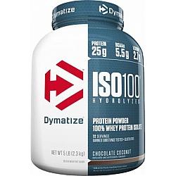 """אבקת חלבון איזו 100 דיימטייז ISO100 Hydrolyzed בטעם קוקוס שוקולד 2.3 ק""""ג - מבית Dymatize Nutrition"""