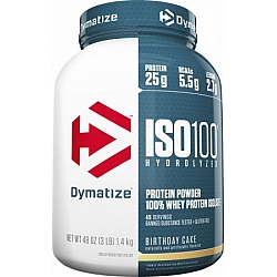 """אבקת חלבון איזו 100 דיימטייז ISO 100 בטעם עוגת יום הולדת 1.4 ק""""ג - מבית Dymatize Nutrition"""