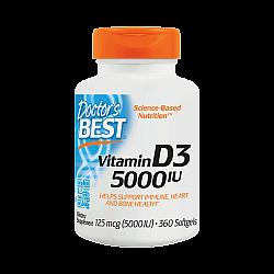 """ויטמין די IU 5000 D3 יחב""""ל - 360 כמוסות רכות - מבית Doctor's best"""