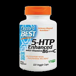 "5-HTP ב 100 מ""ג עם ויטמינים B6 \ C תכולה 120 כמוסות צמחיות - מבית Doctor's best"