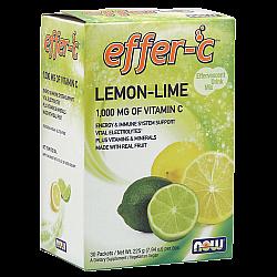 """אפר C מכיל 1000 מ""""ג ויטמין C בטעם לימון ליים - 30 מנות מבית NOW FOODS"""