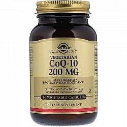 """קו-אנזים Q10 צמחי 200 מ""""ג סולגאר - 60 כמוסות צמחיות מבית SOLGAR"""