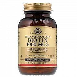 """ביוטין 1000 מק""""ג סולגאר - 250 כמוסות מבית SOLGAR"""