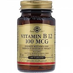 """ויטמין B12 לבליעה 100 מק""""ג סולגאר - 100 טבליות מבית SOLGAR"""