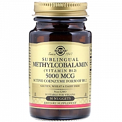 """ויטמין B12 מתילקובלאמין 5000 מק""""ג למציצה מתחת ללשון סולגאר - 30 טבליות למציצה מבית SOLGAR"""