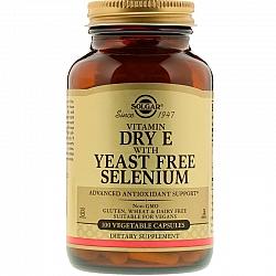 ויטמין E בתוספת סלניום נטול שמרים סולגאר - 100 כמוסות צמחיות מבית SOLGAR