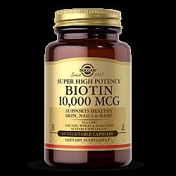 """ביוטין 10,000 מק""""ג - כשר - סולגאר חזק במיוחד - 60 כמוסות מבית SOLGAR"""