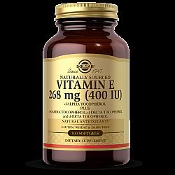 """ויטמין E סולגאר 268 מ""""ג ממקור טבעי 400 יחב""""ל - 100 כמוסות רכות מבית SOLGAR"""