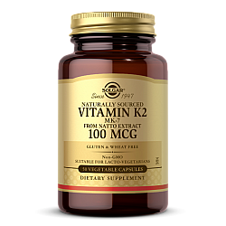 """ויטמין K2 קיי2 סולגאר - 100 מק""""ג - 50 כמוסות מבית SOLGAR"""