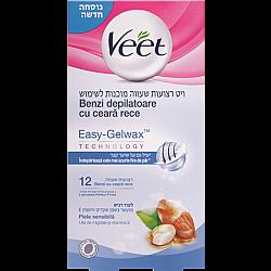 ויט רצועות שעווה לעור רגיש מועשרות בשמן שקדים וויטמין E - מבית Veet