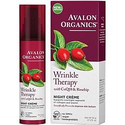 קרם לילה לטיפול בקמטים מועשר בשמן פרי הורד ו- CoQ10 אבלון אורגניקס 50 גרם - מבית Avalon Organics