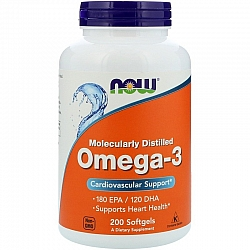 אומגה 3 Omega-3, 180 EPA/120 DHA - תכולה 200 כמוסות רכות - מבית NOW FOODS