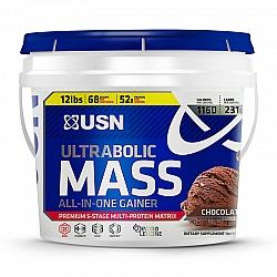 """גיינר לעליה מהירה במאסה יו אס אן אולטראבוליק מאס - יחס 1:5 בטעם שוקולד - משקל 5.45 ק""""ג - מבית USN"""