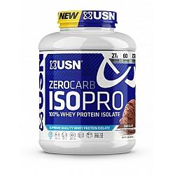 """אבקת חלבון מי גבינה מבודד Zero Carb ISO Pro ללא סוכר ופחמימה בטעם שוקולד 2.04  ק""""ג - מבית USN"""