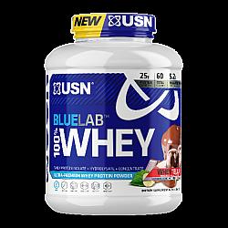 """אבקת חלבון מי גבינה BlueLab 100% Whey בטעם אגוזי לוז מותך 2.04  ק""""ג - מבית USN"""