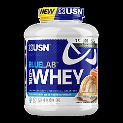 """אבקת חלבון מי גבינה BlueLab 100% Whey בטעם קרמל מלוח 2.04  ק""""ג - מבית USN"""