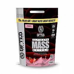 """גיינר לעליה מהירה במאסה ULTIMATE MASS - יחס 1:5 בטעם תות - משקל 5.4 ק""""ג - מבית Gifted Nutrition"""