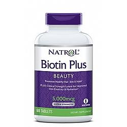 ביוטין פלוס 5,000 מקג עם לוטאין - 60 טבליות מבית NATROL