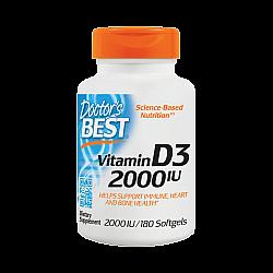 """ויטמין IU 2000 D3 יחב""""ל - 180 כמוסות מבית Doctor's best"""