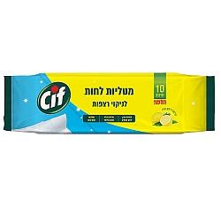 סיף מטליות לחות לניקוי רצפות בריח לימון - 10 יחידות - מבית CIF