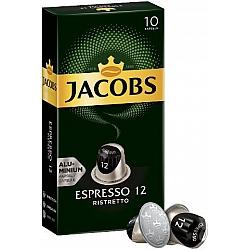 ג'ייקובס קפסולות קפה אספרסו ריסטרטו  חוזק 12 - 10 קפסולות