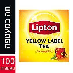 ליפטון תה שחור ילו לייבל במעטפה 100 שקיקים