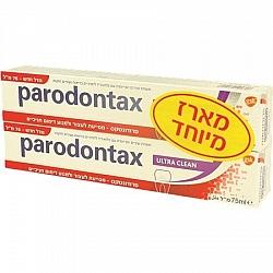 """פרודונטקס משחת שיניים אולטרא קלין עם פלואוריד אריזת זוג 75 מ""""ל"""