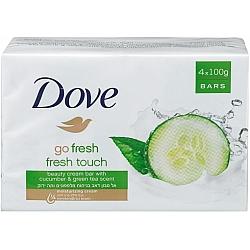 דאב אל סבון מוצק מכיל 25% לחות בניחוח מלפפונים ותה ירוק 4 יחידות - מבית DOVE