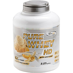 """אבקה חלבון מי גבינה פיור ווי HD בטעם בננה בד""""ץ משקל 2.3 ק""""ג - מבית PowerTech Nutrition"""