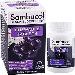 סמבוכול סמבוק שחור עם ויטמין סי 30 טבליות ללעיסה - Sambucol