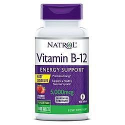 """ויטמין B12 מינון 5000 מק""""ג טבליות למציצה טעם תות 100 טבליות - מבית NATROL"""