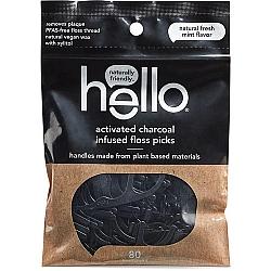 חוט דנטלי ידית עם פחם פעיל בטעם נענע 80 יחידות - מבית Hello