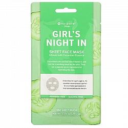 מסכת בד יופי פנים Girl's Night In עם מלפפון 1 יחידה - מבית Nu-Pore