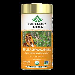 אורגניק אינדיה עלה תה טולסי אשוואגנדה נטול קפאין 100 גרם - מבית Organic India