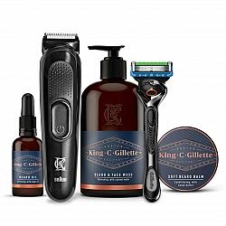 קינג קמפ ג'ילט מארז  מכשיר לגילוח + מכשיר לעיצוב זקן + טיפוח לזקן - מבית King C Gillette