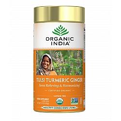 אורגניק אינדיה עלי תה טולסי ג'ינג'ר כורכום נטול קפאין 100 גרם - מבית Organic India