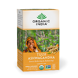 אורגניק אינדיה תה טולסי אשוואגנדה נטול קפאין 18 שקיקים חליטה - מבית Organic India